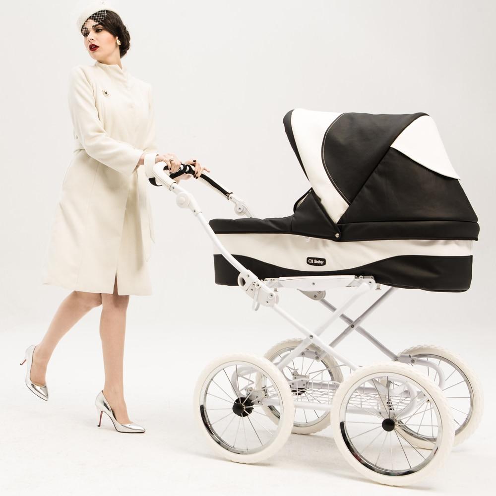 Cochecito de bebé de lujo de alta calidad, coche de cuero Chbaby, coche de bebé de cuatro ruedas a prueba de golpes, cochecito de bebé de estilo real europeo