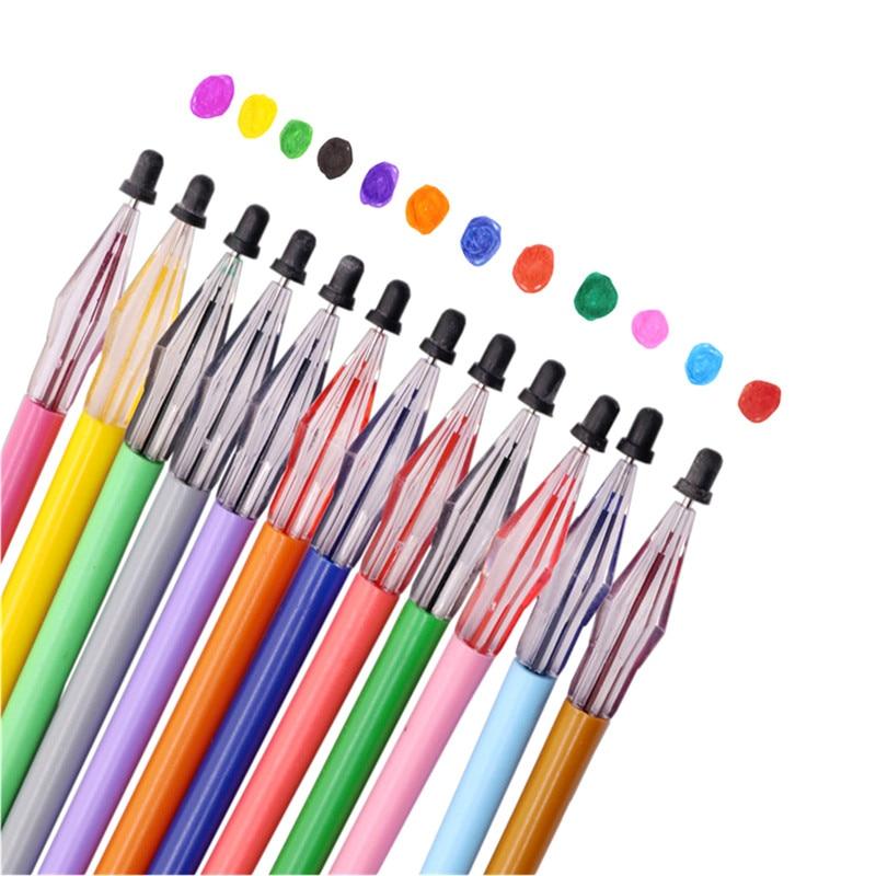 Repuestos de bolígrafo de Gel, 120 Uds., Multicolor, cabeza de diamante, estudiante, oficina, papelería, información de seguimiento disponible en 12 colores