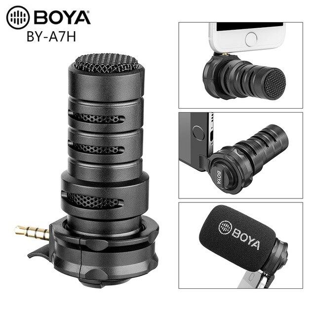 Micrófono de grabación de vídeo condensador BOYA BY-A7H interfaz de 3,5mm para iPhone Samsung Huawei IGTV Youtube Live Show