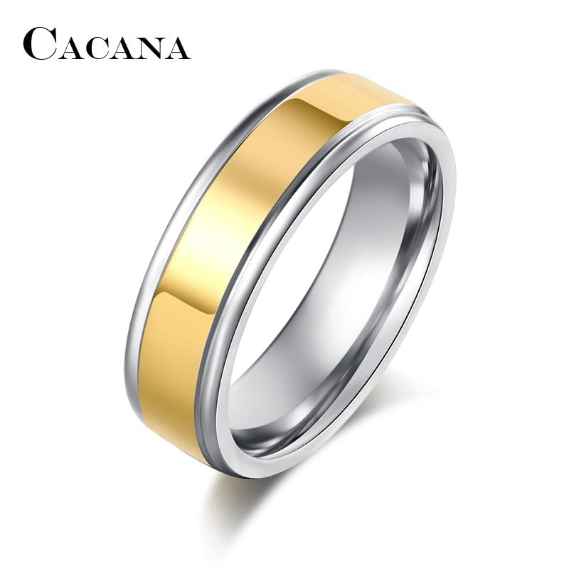 Anillos de acero inoxidable CACANA para mujer, anillo de boda a la moda, joyería de moda al por mayor R102