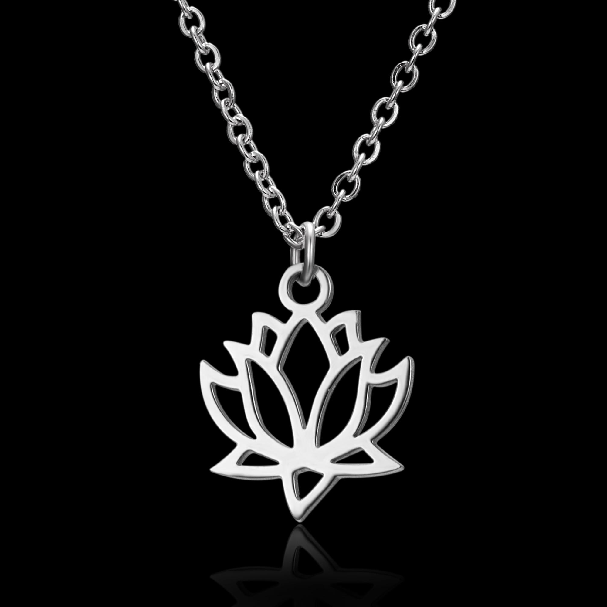 1 шт Великолепная подвеска ввиде цветка лотоса ожерелье серебряного цвета из нержавеющей стали звено цепи ожерелье для женщин Мода ювелирные изделия подарок