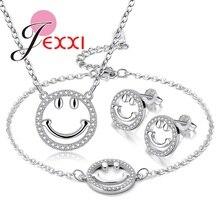 Conjunto de joyas de plata esterlina 925 a la moda para mujeres señoras imagen Casual Simple colgante collar pendiente de abrochar pulsera brazaletes Set