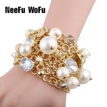 Bracelets & Bracelets gros strass cristal perle Bracelet Pulseira Feminina Bracelet pour femmes bileklik rétro exagéré marque