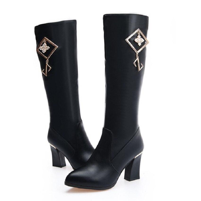 ¡Novedad de 2018! zapatos de invierno de tacón grueso para mujer, venta Online de botas Martin de tacón negro hasta la rodilla