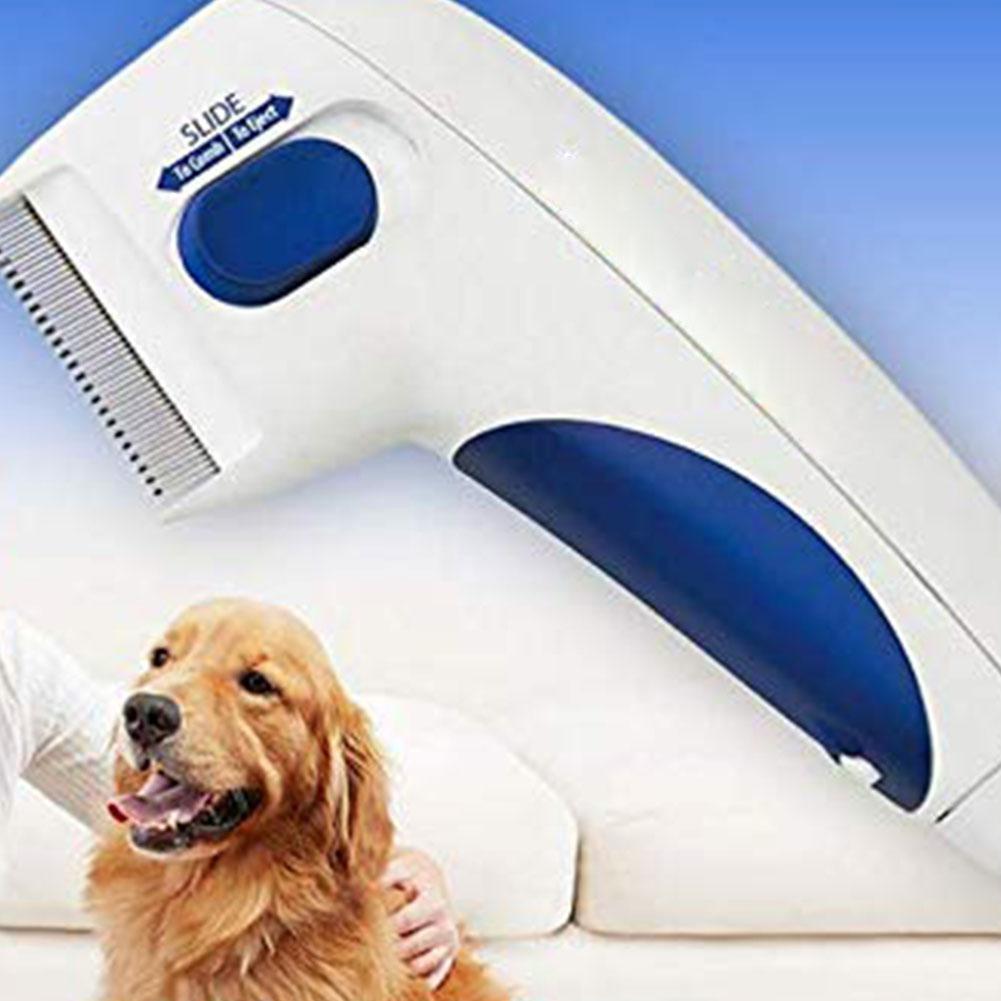 Peine antipulgas tratamiento seguro de los piojos de la cabeza del animal doméstico mata el peine del limpiador del pelo para Gatos Perros