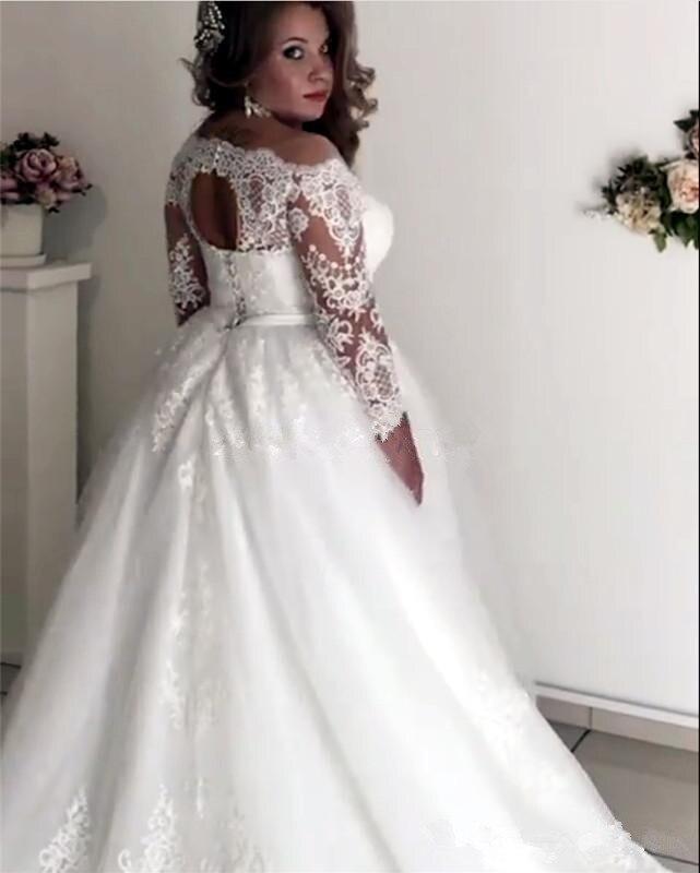 Купить с кэшбэком Plus Size Wedding Dresses Sheer Neck Long Sleeve Appliques Illusion Sash Hollow Back Garden Country Bridal Gowns robe de mariee