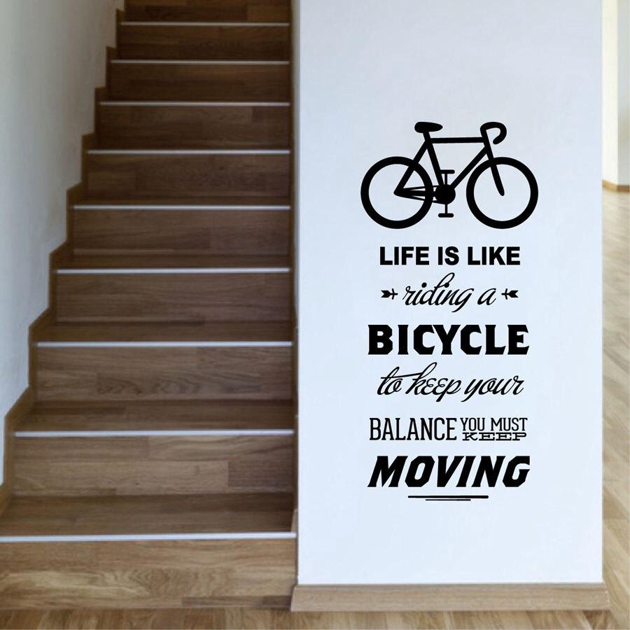 2018 naklejki ścienne na pokoje dla dzieci designerskie dekoracje do domu życie jest jak jazda na rowerze cytat Bike naklejka ścienna Diy kolarstwo słowa D04