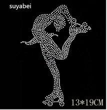 Style Skate fille   Strass, hotfix en cristal, transfert de chaleur, fer sur les patchs, appliques pour chemise, pierre de design