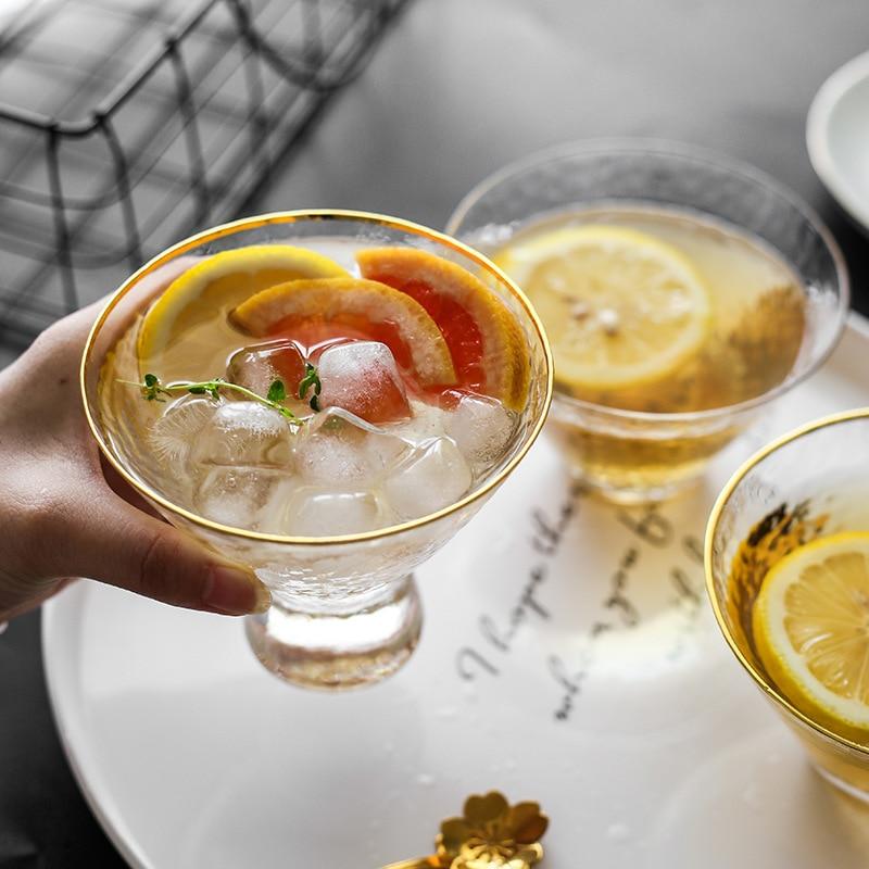 Bol transparente de vidrio esmerilado de estilo japonés, Bol para postre, fruta, helado, bebida fría, copa de cóctel de vidrio, estilo japonés