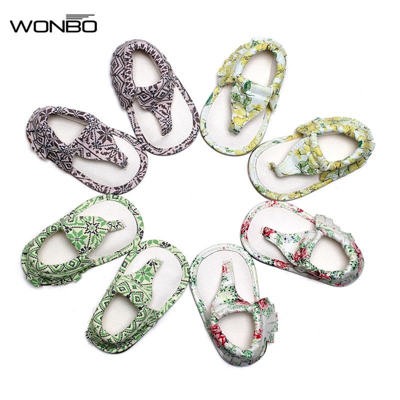 WONBO Summer infant Flip Flops Floral sandals 11 colors Hot sale Pu leather Baby moccasins Rubber sole Baby sandals 0-24 M