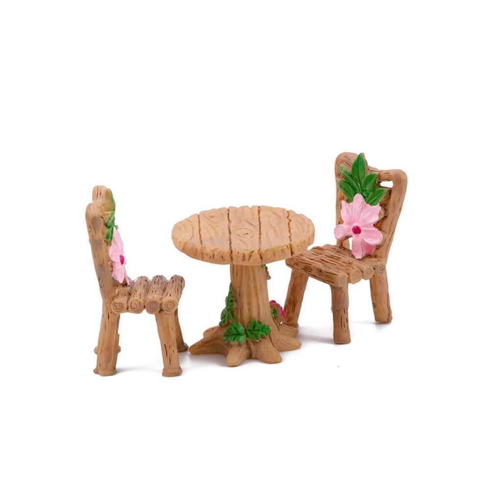 Casa Micro paisaje miniaturas 3 unids/set bonita silla de mesa resina adorno artesanal Hada en miniatura de jardín figurita decorativa