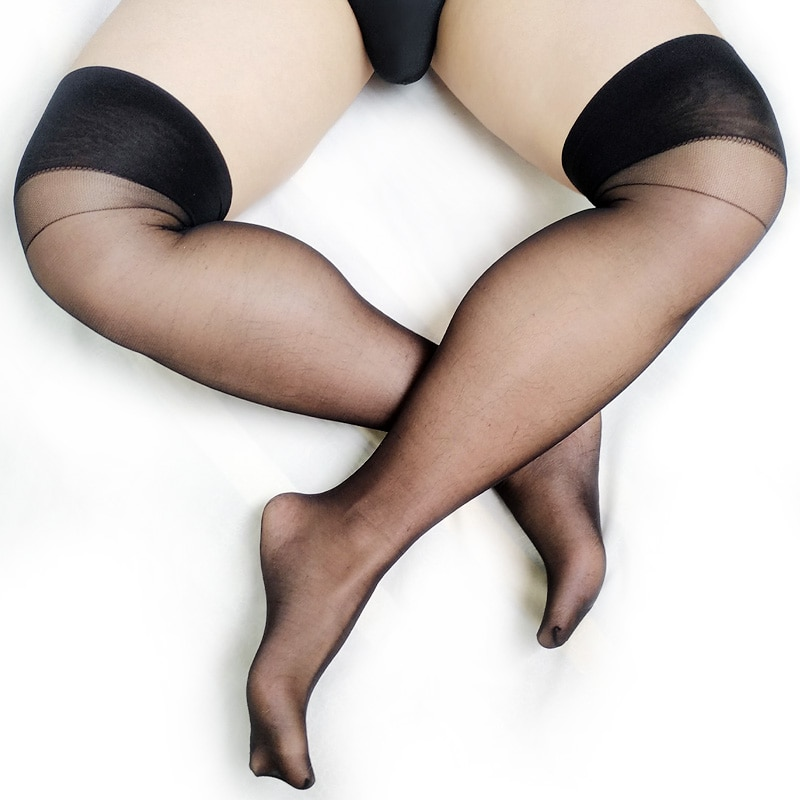 See Through Sheer Mens Stocking At Play Fetish Collection Sexy Gay Male Socks Softy Thin Formal Dress Suit Hose Black enlarge