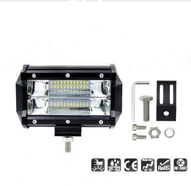 Barra de luz de trabajo de 2 filas de 5 pulgadas 72W 6000K, reflector marino LED, iluminación de día para motocicletas todoterreno, SUV, barcos, accesorios para coches
