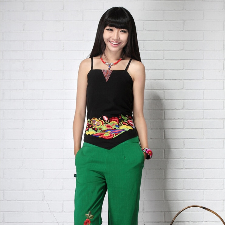 Chiński haft Crop Top kobiety czysty len stanik przycięte bluzki bawełniana kamizelka kobiety Off Shoulder Sexy bluzki kobieta odzież