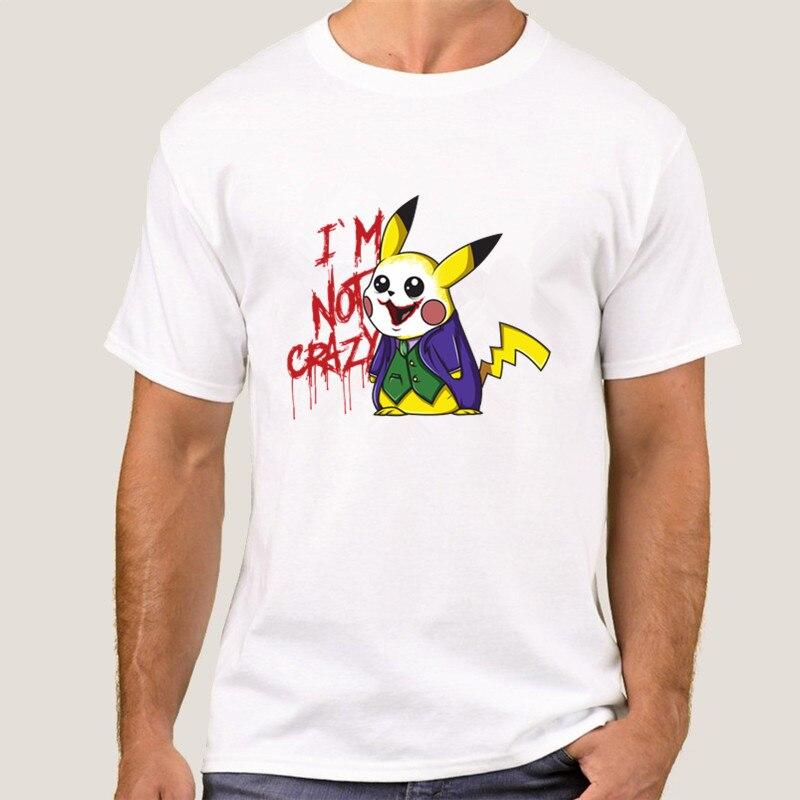 Pikachu Cosplay Joker T camisa Hombre Camisetas Cool camiseta pika hombres de manga corta Tops no estoy loco camiseta 008