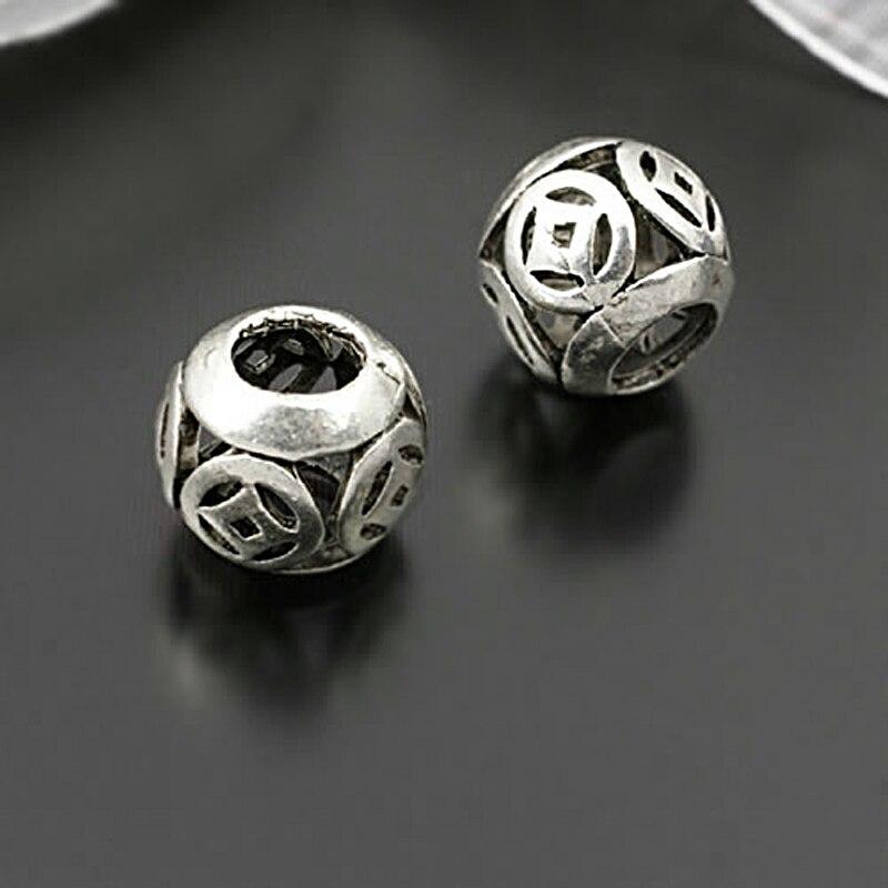 (27917)10 pçs 10x9mm, buraco 4.5mm estilo antigo liga de zinco com moedas grandes contas buraco diy jóias achados acessórios atacado