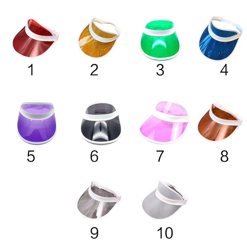 10 Colors Women Men Transparent PVC Plastic Sunshade Hat Frosted Sweet Candy Color Empty Open Top Sports Beach Sun Visor Cap Str