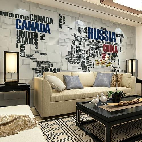 Papel tapiz grande 3D para Mural fotográfico para sala de estar, TV, sofá, papel de pared artística, mapa del mundo en inglés
