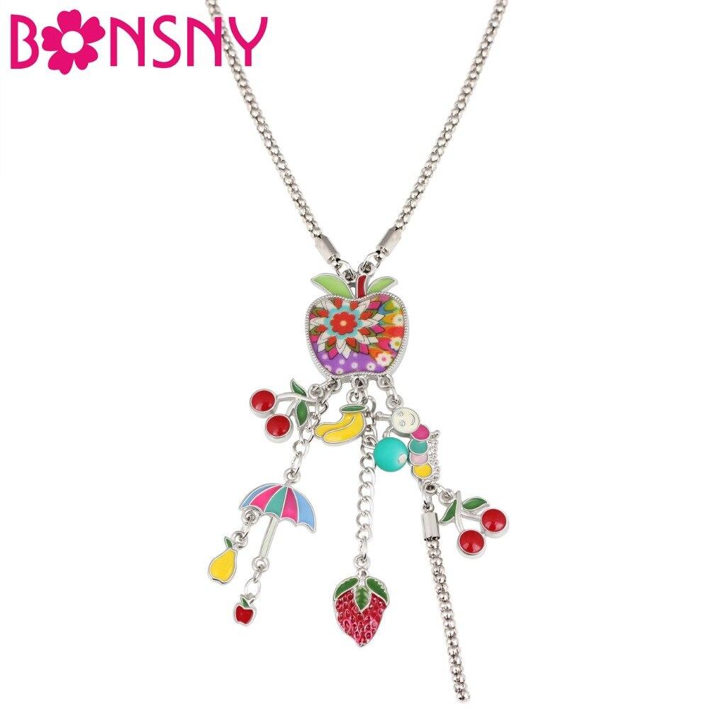 Bonsny, collar con gargantilla de paraguas de frutas con diseño Floral de aleación y esmalte, joyería novedosa de dibujos animados para mujeres, niñas y adolescentes, regalo para niños