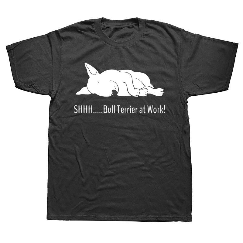 Бультерьер на работе футболки забавная графическая модная новая хлопковая футболка с коротким рукавом и круглым вырезом