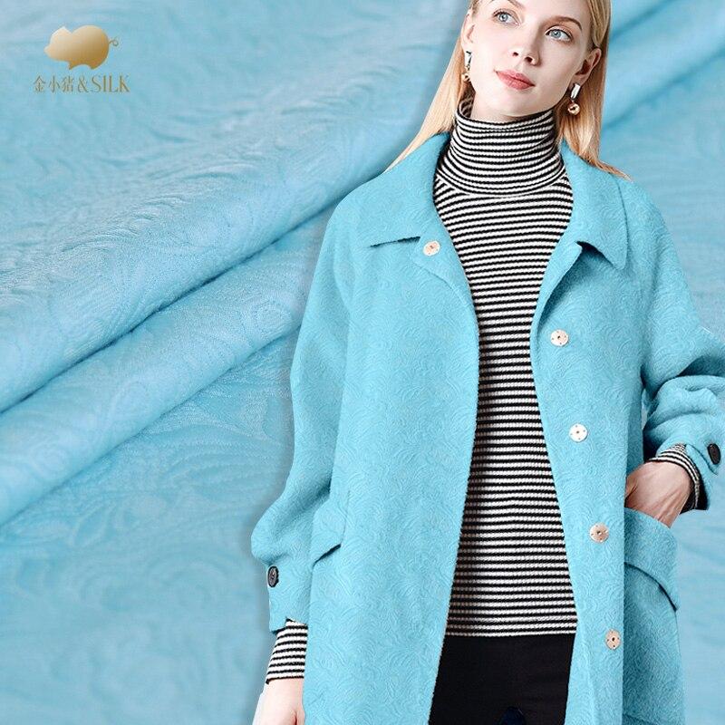 Sea blue jacquard cotton fabric heavy jacquard fabric fashion blended embroidery fabric wholesale cotton cloth