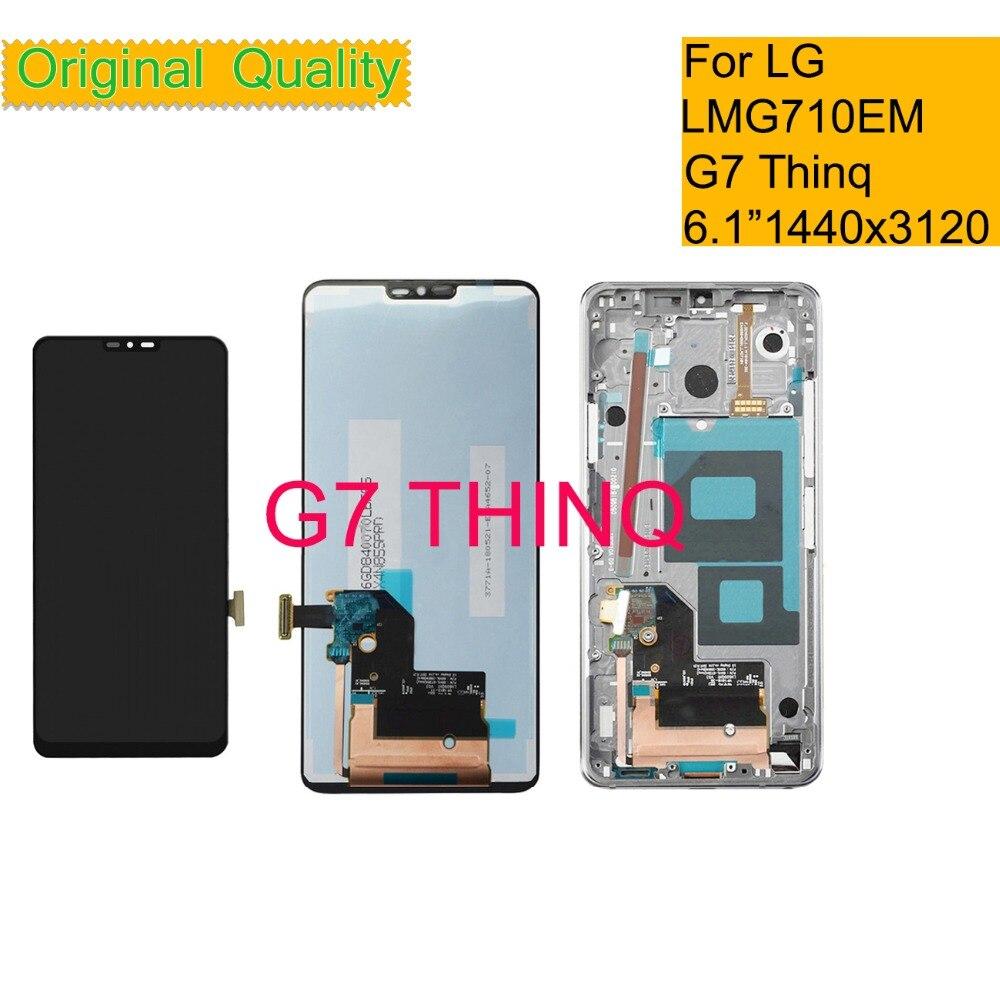 الأصلي ل LG G7 THINQ G710 G710EM G710PM G710VMP شاشة الكريستال السائل مجموعة المحولات الرقمية لشاشة تعمل بلمس G7 Thinq شاشة الكريستال السائل مع الإطار