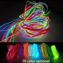 LED bande EL fil Tube corde Flexible néon lumière 2.3mm-jupe 1-25 mètre 10 couleur sélectionner voiture à lintérieur de la décoration