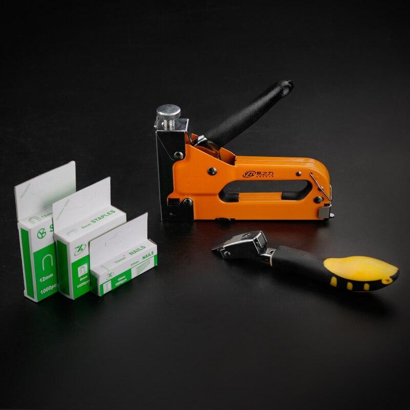 Многофункциональный степлер для мебели, сверхмощный ручной степлер для обивки деревянных дверей, обрамления, заклепок, 3-сторонний, ручной