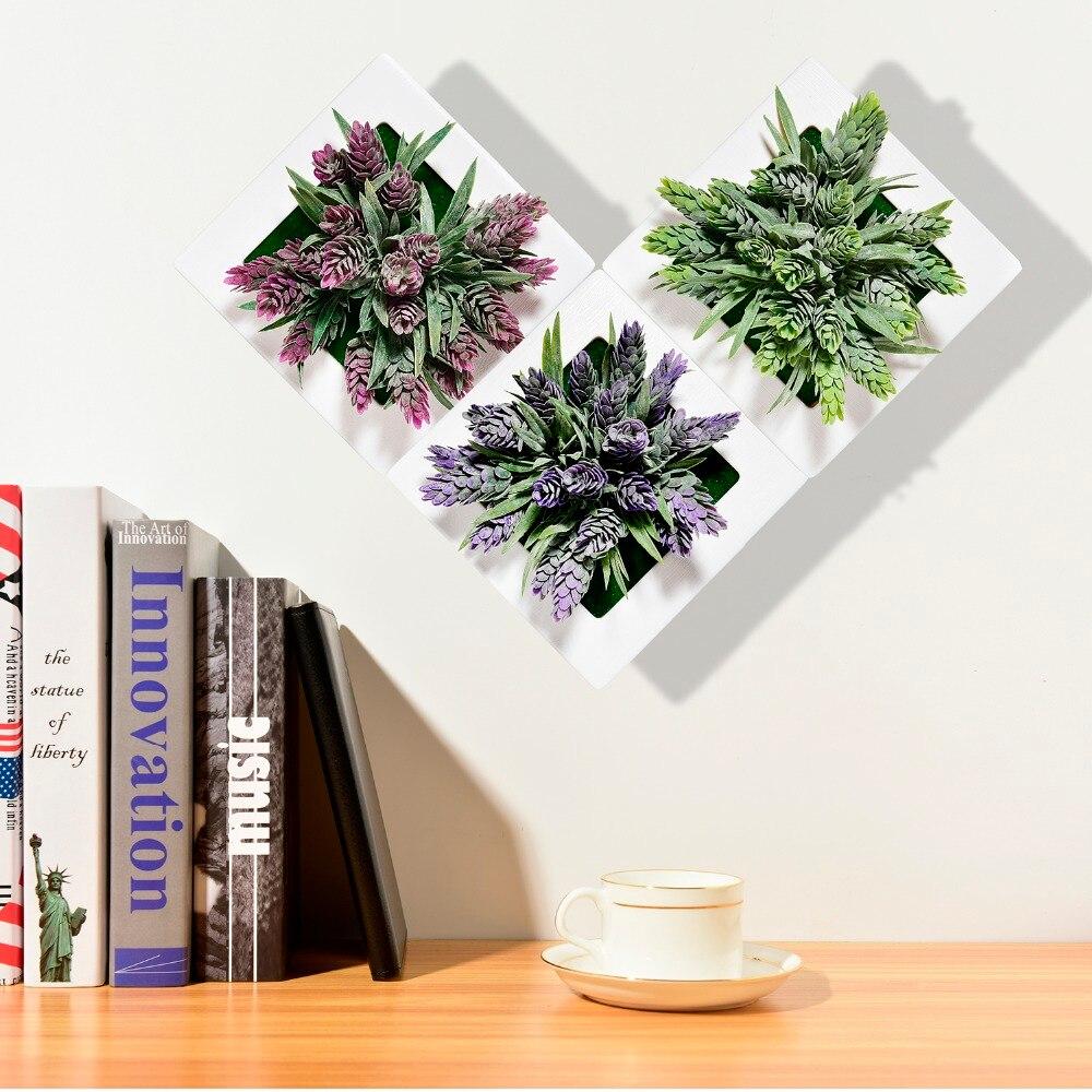 Искусственные цветы висит 3D фоторамка пластиковый цветок декор горшков держатель домашний сад искусственный суккулент растения настенные украшения