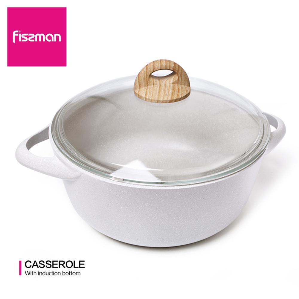 Fissman borneo série caçarola antiaderente revestimento de alumínio ponto indução inferior panela rasa com tampa