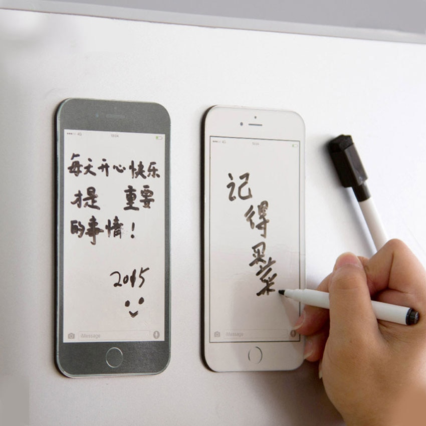 Creativo teléfono móvil tipo nevera refrigerador magnético mensaje junta con esponja reutilizable suave pluma pegar pegatinas hogar