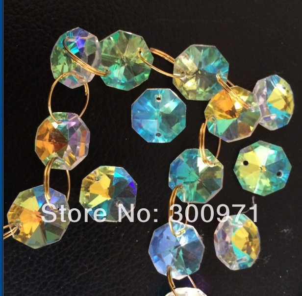 O envio gratuito de 1000 pçs/lote, cor vitrail médio, 14 milímetros contas octagon cristal em 2 furos para casa acessórios de decoração