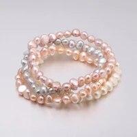 2020 high quality 6 7 mm freshwater irregular pearl bracelets natural pearl bracelet for women pearl bracelet