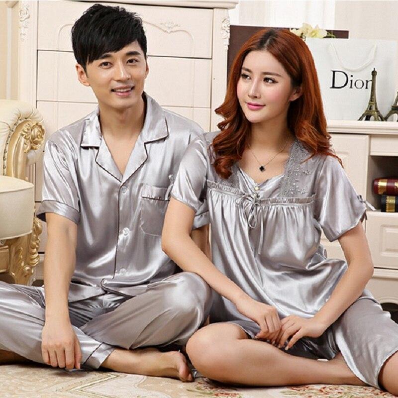 Women Pyjamas Couples Satin Silk like Pajama Sets Summer Short Sleeve Sleepwear Solid Nightwear Casual Longwear