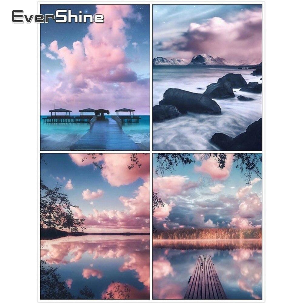 Mosaico de diamantes Evershine, cuadro cuadrado completo de diamantes, paisaje DIY, bordado de diamantes, puente de madera, imágenes de diamantes de imitación