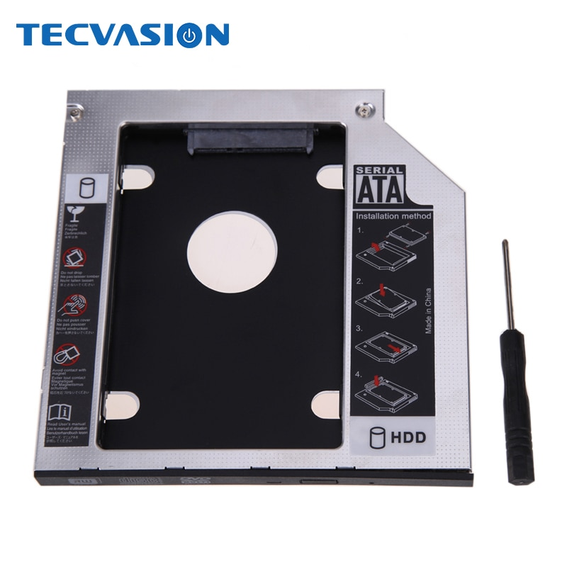 "Aluminium SATA 3,0 2nd HDD Caddy 9,5mm für 2,5 ""SSD Fall HDD Gehäuse mit Panel für Laptop DVD CD-ROM Optibay"
