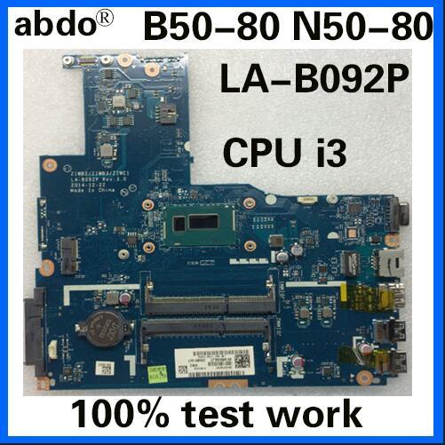 abdo ZIWB2/ZIWB3/ZIWE1 LA-B092P motherboard for Lenovo B50-80 N50-80 notebook motherboard CPU i3 5005U/5010 DDR3 100% test work