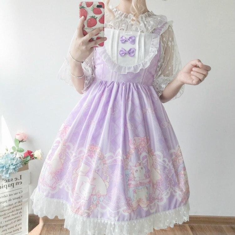 Kawaii japonés Lolita jsk Vestido Mujer verano suave hermana viento lindo arco gato lolita Correa dulce vestido lindo