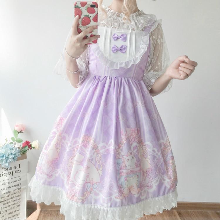 Kawaii japonés Lolita vestido JSK mujeres verano suave hermana viento lindo gato lazo lolita Correa dulce vestido lindo