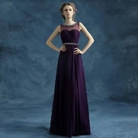 2019 new arrival stock plus size pregnent women bridal gown purple evening dresses sexy long a line pearl sashes party dress 264