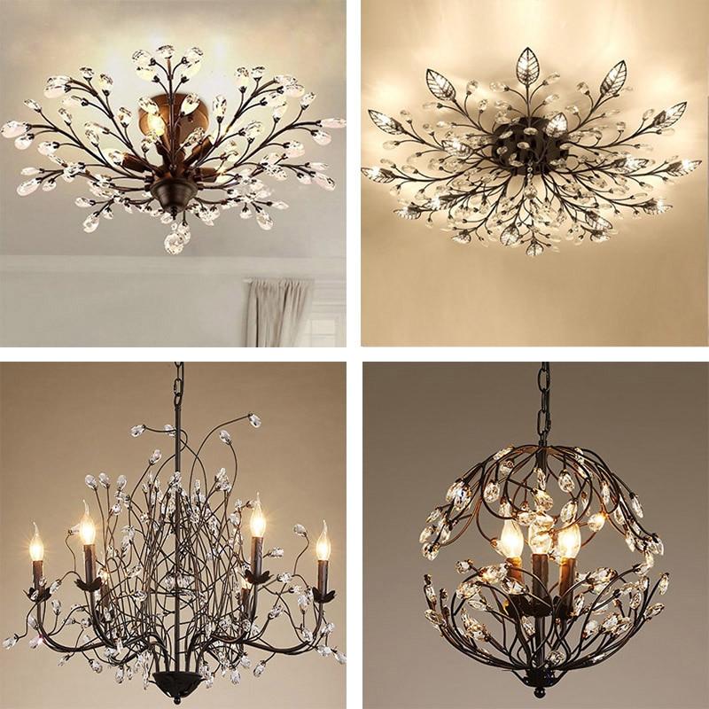 Lámpara colgante retro de cristal para sala de estar, restaurante, rama de árbol, lámpara colgante de belleza