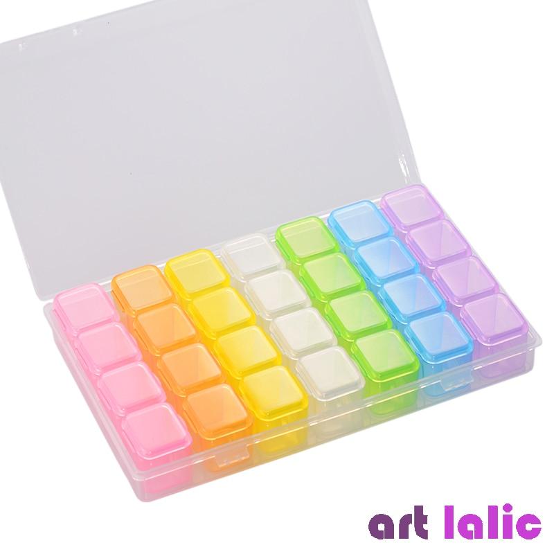 28 слотов, цветная пластиковая пустая коробка для хранения, для дизайна ногтей, инструменты из горного хрусталя, для ювелирных изделий, витри...