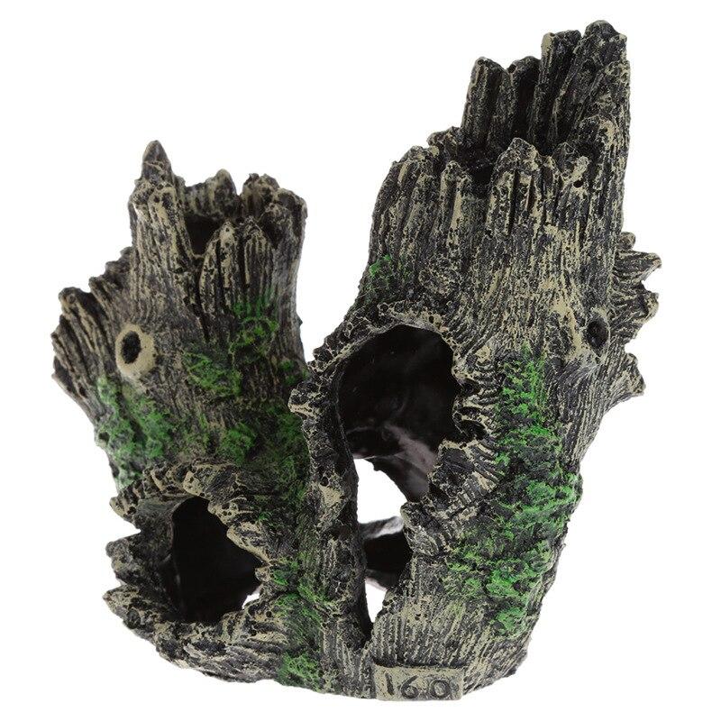 Artesanía de resina de cristal para criar gambas raíces de Casa Driftwood Casa de juego hueco Cueva de árbol acuario decoración para peces Accesorios para tanque