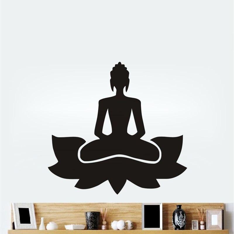 Meditate-pegatinas de pared para Yoga con diseño de Lotus Pose, Vinilos Decorativos,...