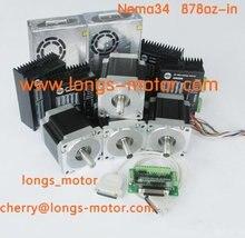 HOT SALES 4Axis Nema 34 Stepper Motor 880OZ-In &driver DM860A &4pcs power supply Controller board DB25 CNC Cut  Laser Engraving
