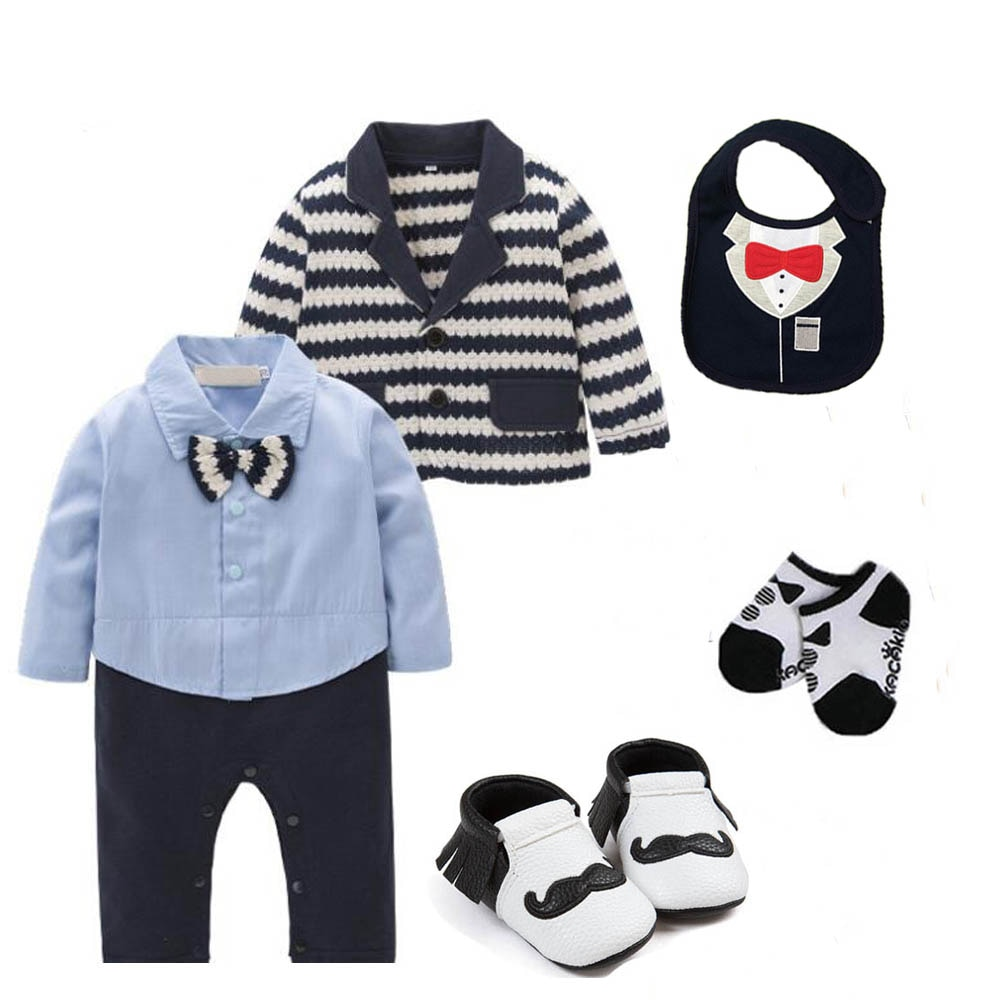 kids baby boys clothing wedding birthday Tuxedo cotton Coat jacket+bodysuit outfits & set baby Christening suit outfits
