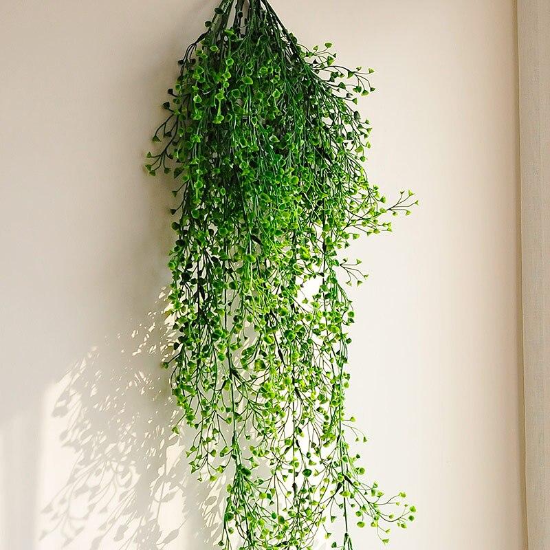 Flores, vid, ratán, planta colgante, hojas de plantas artificiales, accesorios de pared, decoración de balcón, decoración del hogar