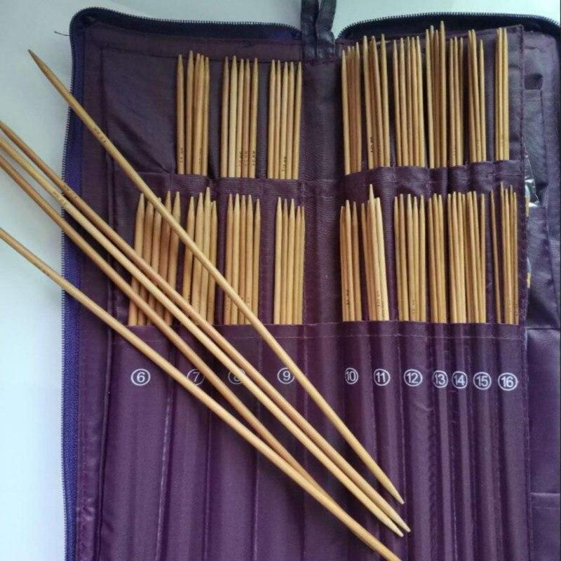 DIY Knitting Bamboo 11 set Straight Needles Knit Weave Stitches Knitting Needle needlework PU bag 5