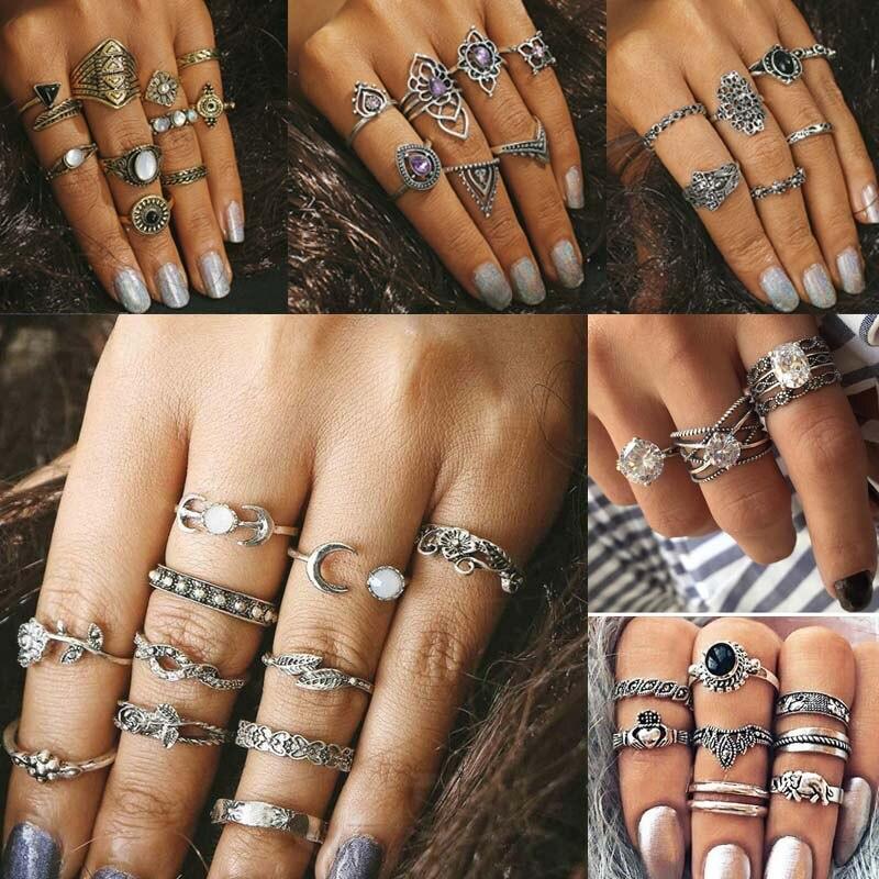 Crazy Feng 20 Estilo Vintage Boho Finger Ring Set para mujeres antiguo Color plata flor tallada nudillo Midi anillos Mujer joyería