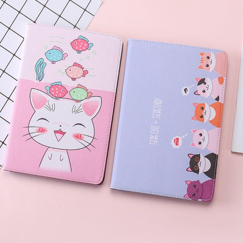 For New iPad Mini 5 2019 Case Cartoon Cute cat PU Silicone Soft Back Tablet Cover For Apple iPad Mini 5 Flip smart stand Case
